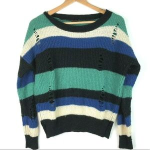 Mine M Grungy Distressed Stripe Knit Sweater Color